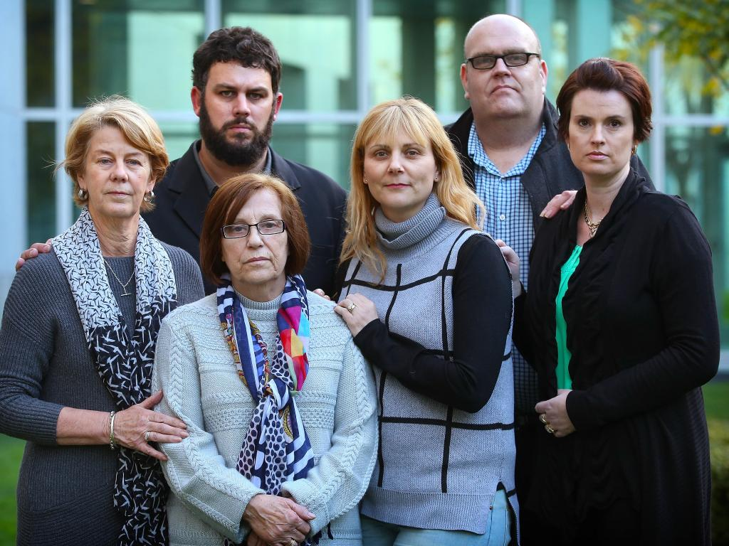 Barbara and Clive Spriggs, Rina Serpo and Alma Krecu, Stewart Johnston and Patrina Cole — all family members of former residents of the Oakden Older Persons Mental Health Service — previously travelled to Parliament House in Canberra to lobby for better standards in aged care. Picture: Kym Smith