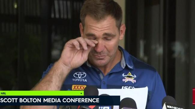 An emotional Scott Bolton addresses media.