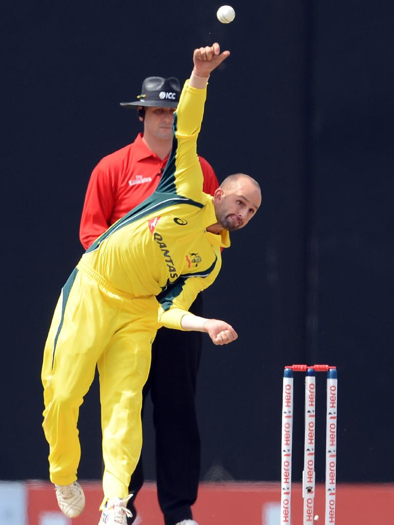 Nathan Lyon in action for Australia's ODI team in 2016.