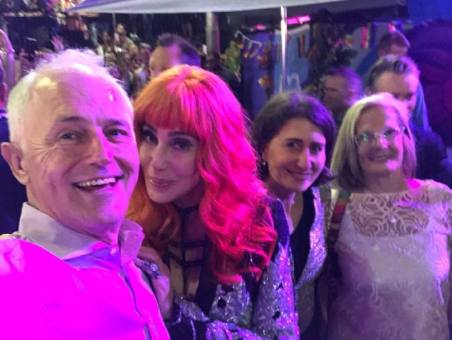 Malcolm Turnbull's controversial Cher selfie with NSW Premier Gladys Berejiklian and his wife Lucy at Mardi Gras. Picture: Twitter
