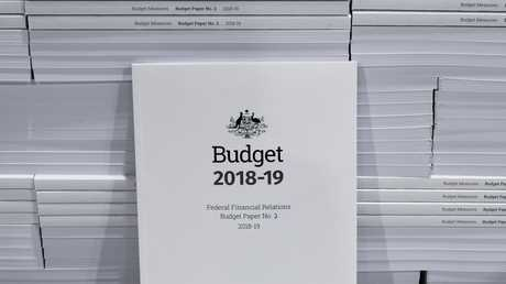 The cover of the 2018-19 Budget papers is seen at Canprint in Canberra, Sunday, Picture: AAP Image/Lukas Coch.