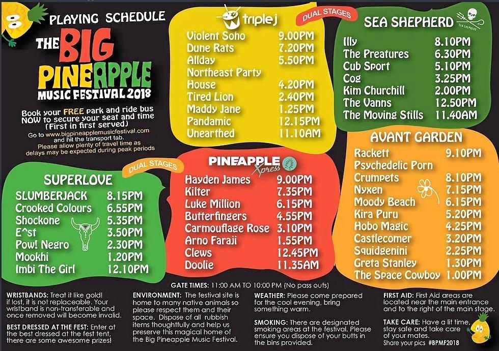 Big Pineapple Music Festival set times.