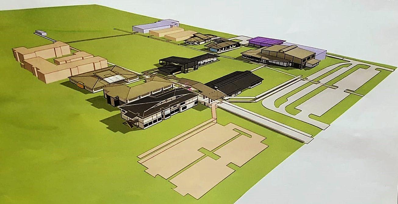 WHAT TO EXPECT: The draft plans for Calliope's new high school. The khaki green buildings and the grey car park at the bottom right will be included in the first stage of the project under the current proposal.