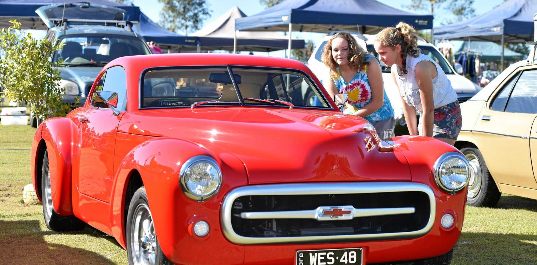 Anneka and Seanna Jones admire this 1948 Chev.
