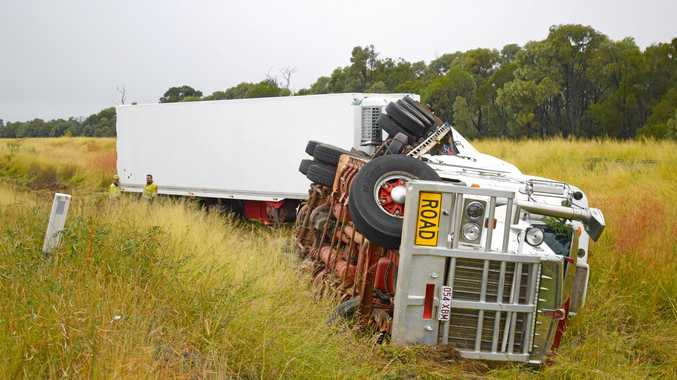 NO INJURIES: The beer truck veered of the Warrego Highway 5km west of Chinchilla on Tuesday night.