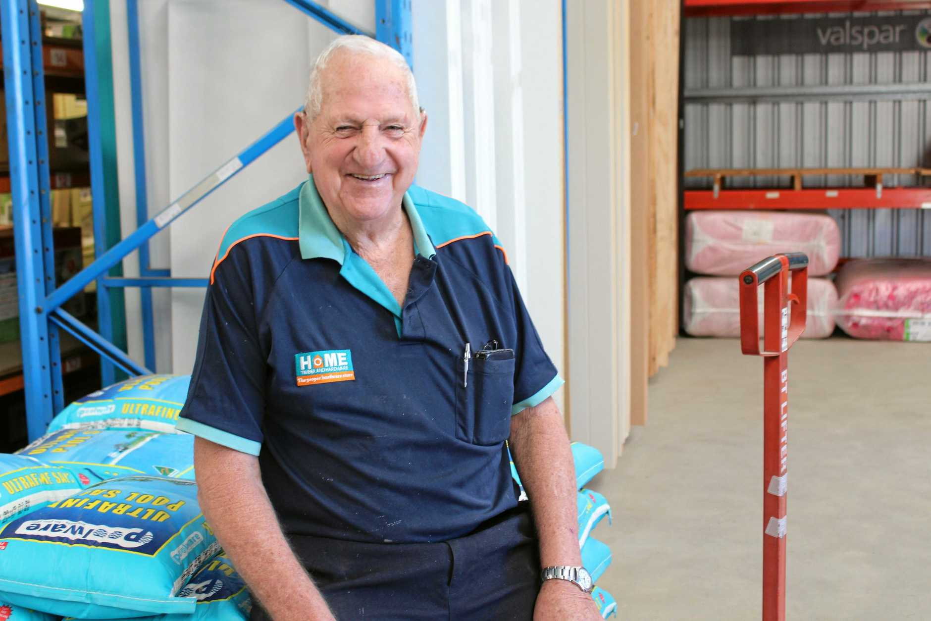 John Brydon is 80 years of age and still chipping away in the aisles of Olsens Home Hardware and Paint Place, where he has worked for 20 years.