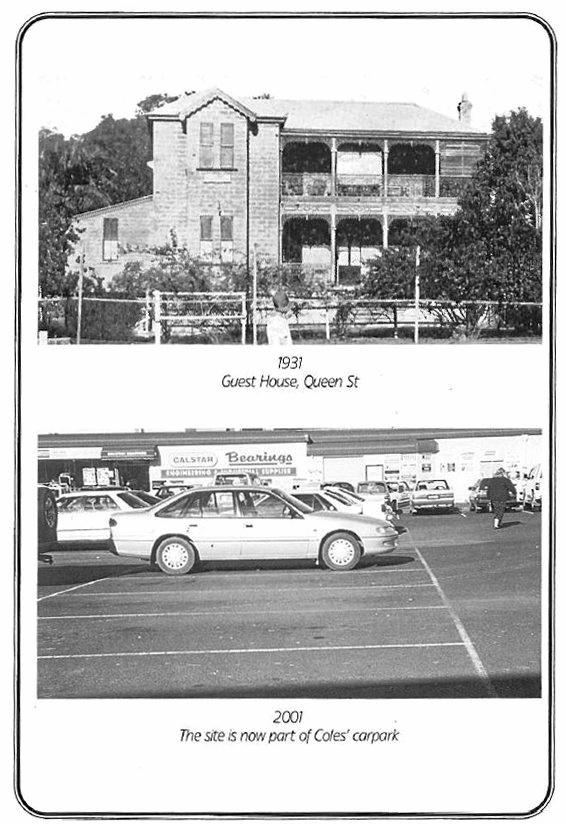 A page from the booklet Grafton Through the Years illustrates some of the heritage carnage. Grafton Guest House, Queen St (1931) and what it is today, part of the Coles carpark.