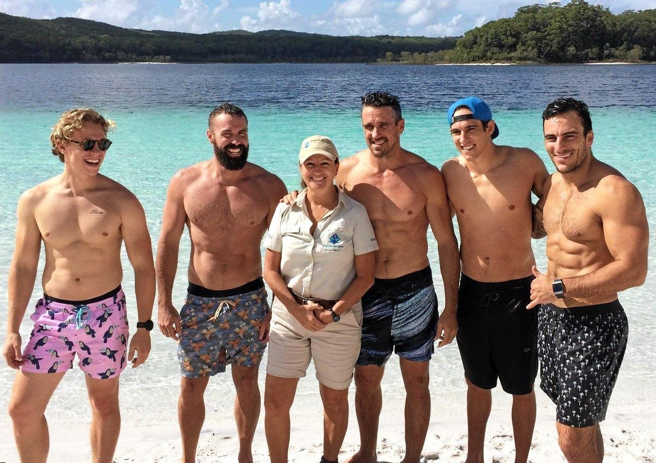 Jockey brand ambassadors during their getaway trip to Fraser Island. Pictured with ranger Annie Bauer.