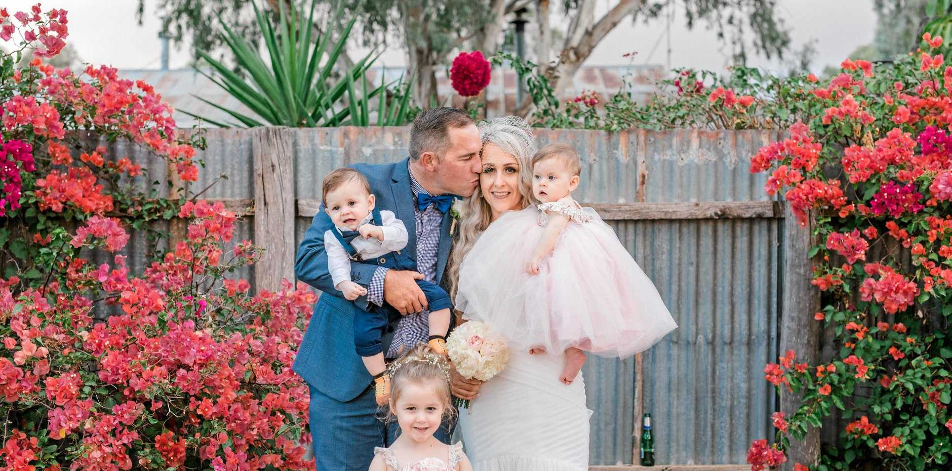 HAPPY FAMILY: Bek and her husband Nathan with their children Greta, Theo and Lily on their wedding day in March.