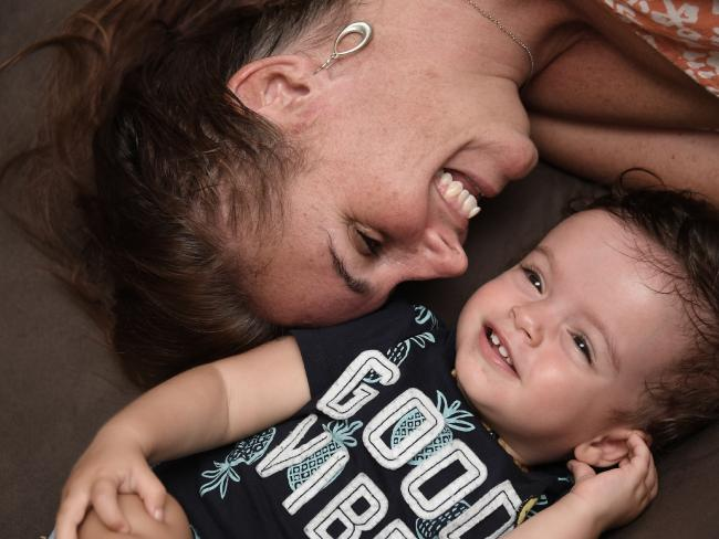 Kelly Nascimento and baby Julian. Picture: Brian Cassey