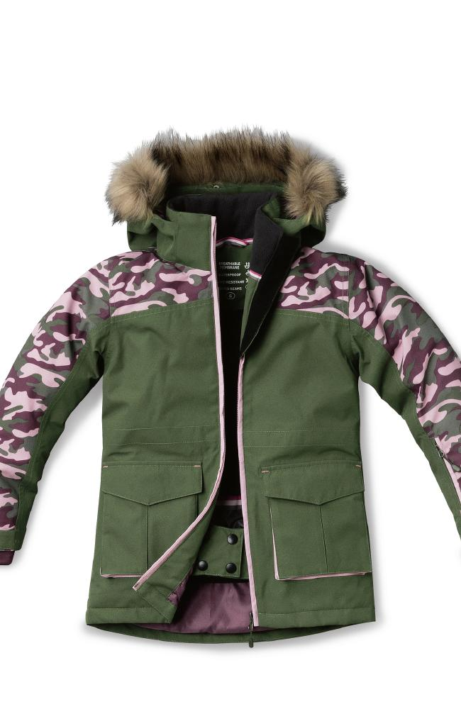 The girls' snowboard jacket has a faux-fur lined hood.