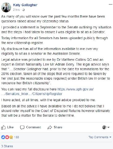 Katy Gallagher Facebook post about citizenship status.