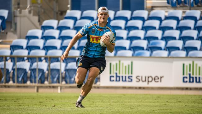 Dale Copley stretches out at Titans training.