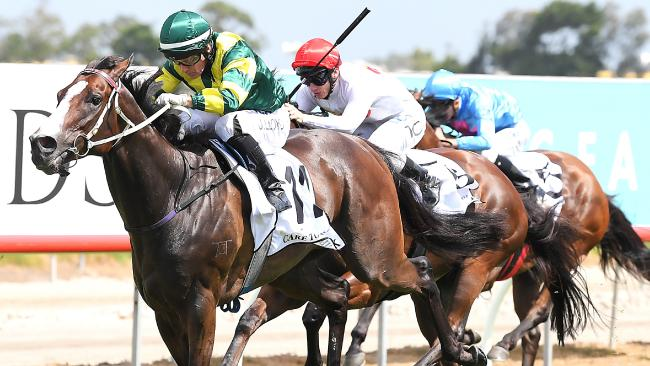 Jockey Jeff Lloyd rides Care To Think to win the Magic Millions Cup. Picture: AAP