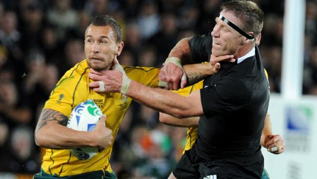 Quade Cooper and Brad Thorn at each other's necks at the 2011 Rugby World Cup.
