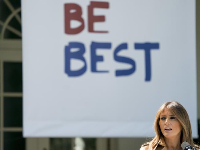Mrs Trump, 48, was mocked over the awkward slogan for her new campaign, as well as reusing an existing pamphlet. Picture: AP Photo/Andrew Harnik