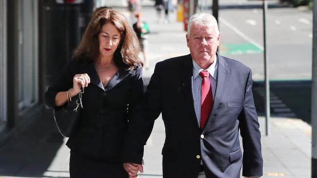 Elizabeth and John Wagner leave the Brisbane Supreme Courts.