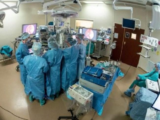 Rhinologist Dr Christie Barnes and neurosurgeon Dr Dan Surdell operated on Jackson a few weeks ago. Picture: Nebraska Medicine