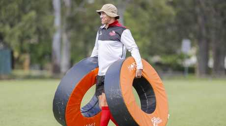 Coach Brad Thorn in action during a training session with the Reds in Brisbane.