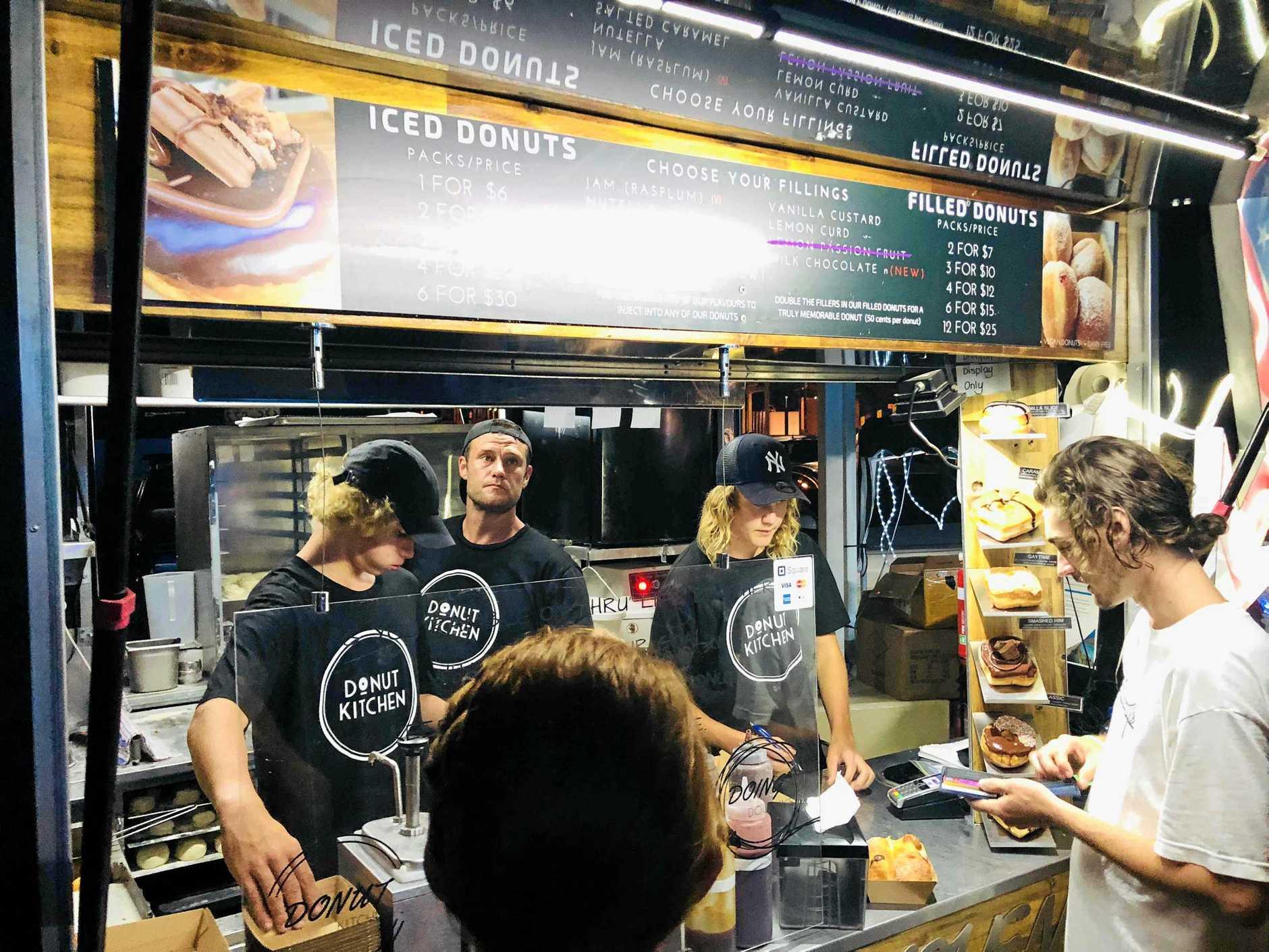 The Donut Kitchen does a roaring trade each Sunday at Caloundra Street Fair.