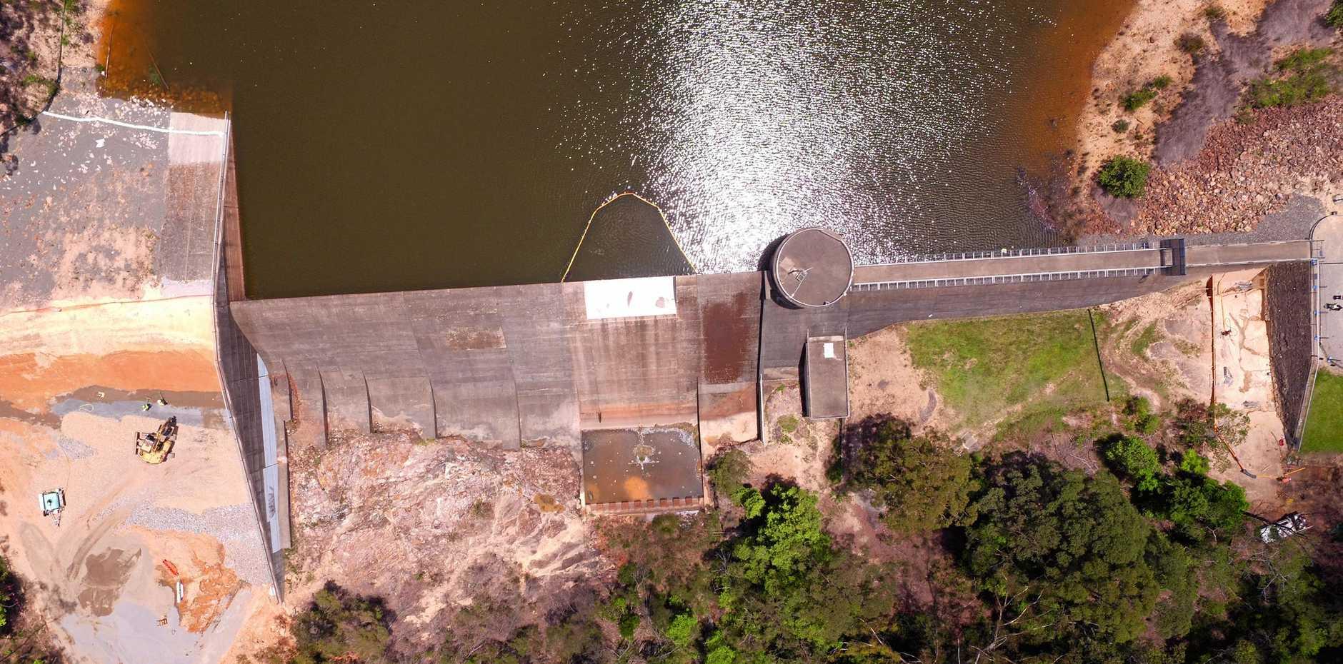 Cooloolabin Dam spillway during upgrade works.