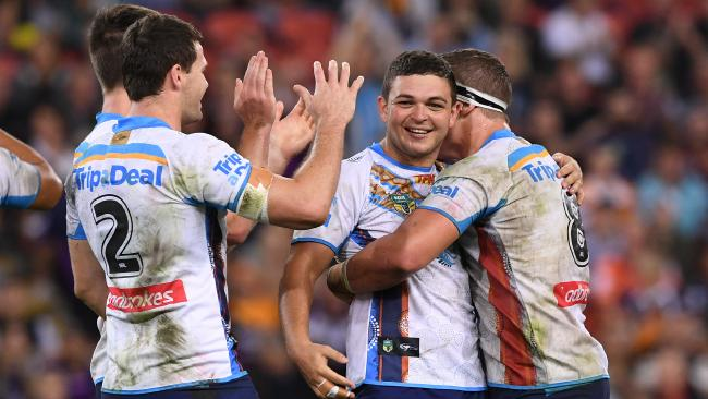 The Titans upset the Storm 38-36 in a wild game at last year's NRL double-header. Picture: AAP Image/Dave Hunt