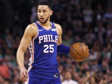 Ben Simmons did battle with fellow Aussie Aron Baynes.