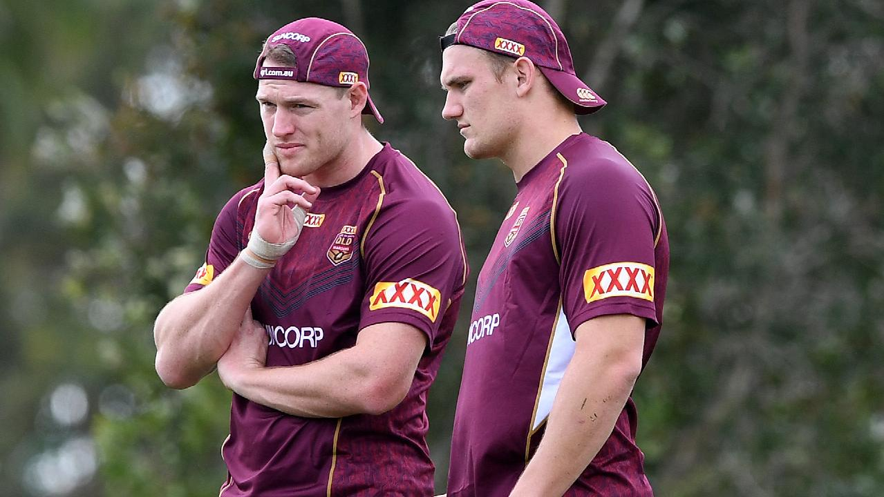 Tim Glasby and Coen Hess in Maroons camp last year.
