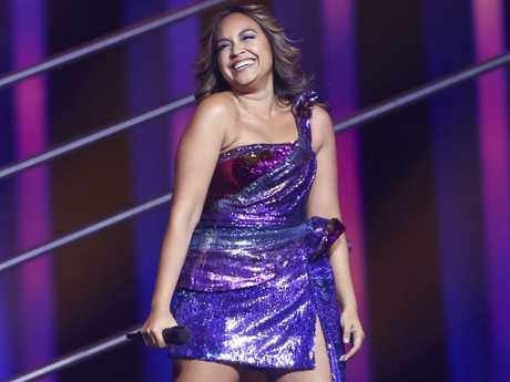 Jessica Mauboy said she gave herself whiplash during the first rehearsal for the Eurovision Song Contest. Picture: AP Photo/Armando Franca