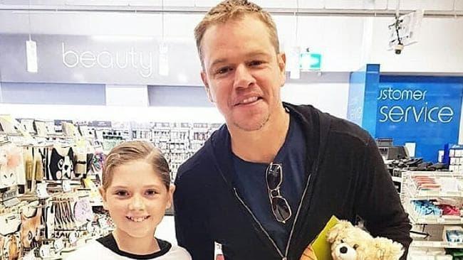 Matt Damon poses for a snap with Kmart shopper Krystla McIntosh at Ballina. Picture: Instagram/MattyMimnaw