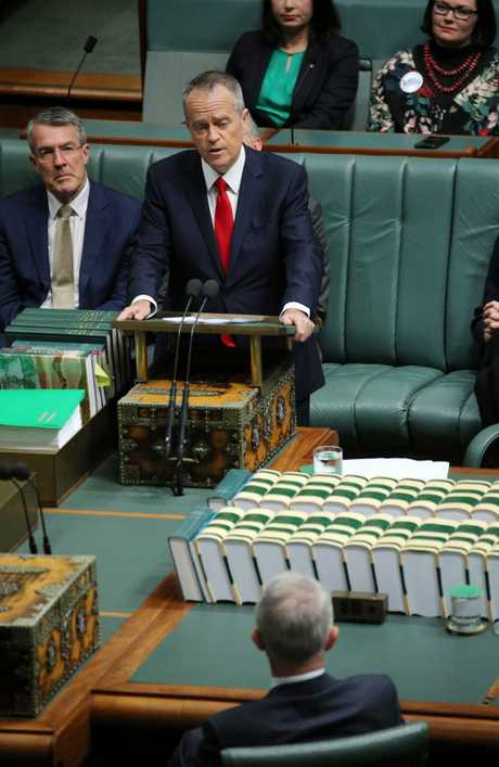 The Opposition Leader Bill Shorten gave his Budget in Reply speech to the Parliament in the House of Representatives in Parliament House, Canberra. Picture Gary Ramage