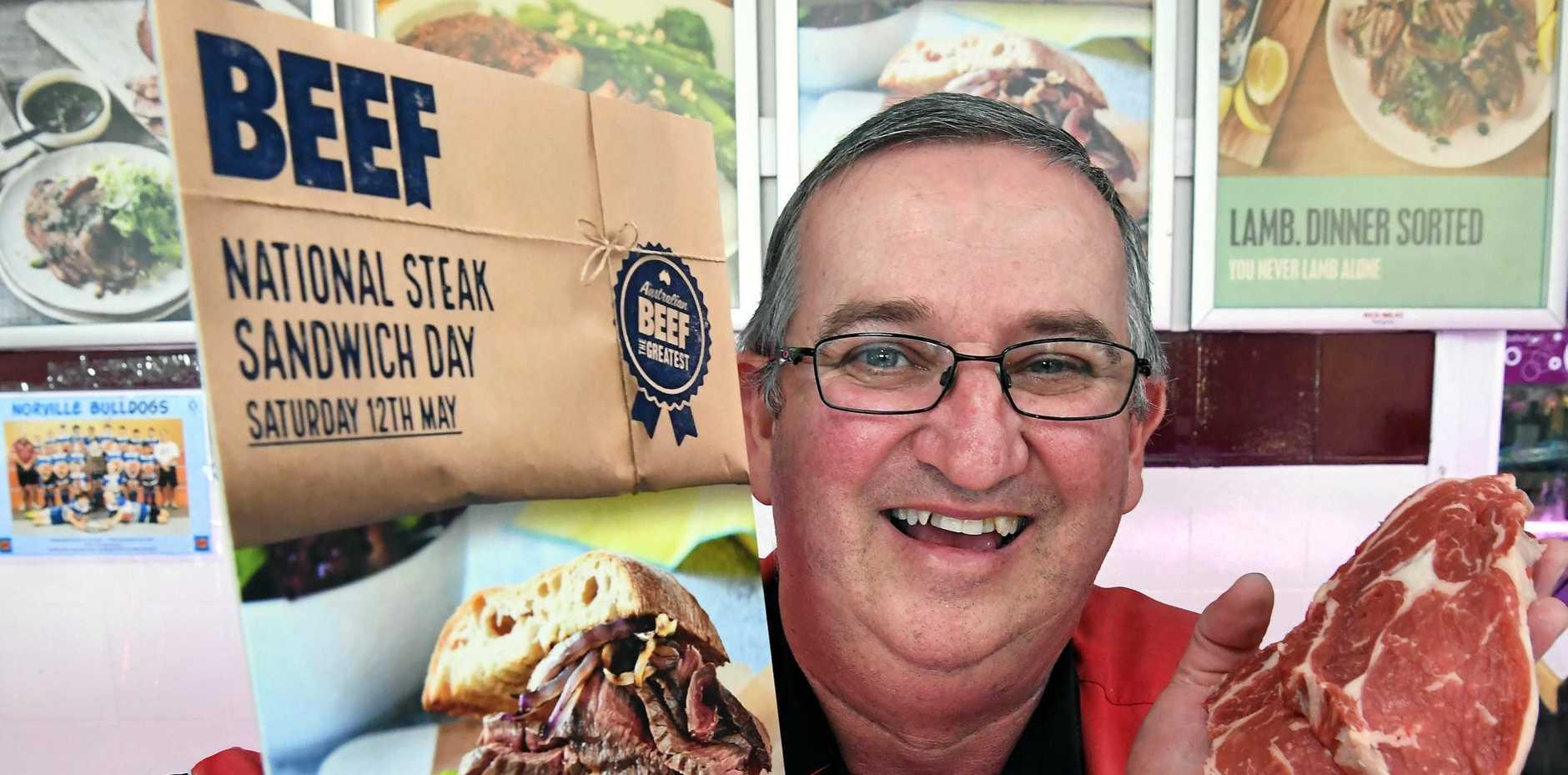 SANGA TIME: Ken Barritt is local spokesperson for wide bay for National Steak Sandwich Day.