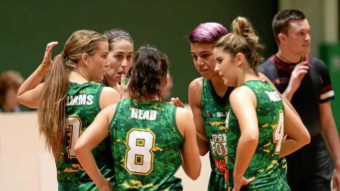 THINKING AHEAD: Ipswich Force basketballers Georgia Williams, captain Bree Farley, Kate Head, Amanda