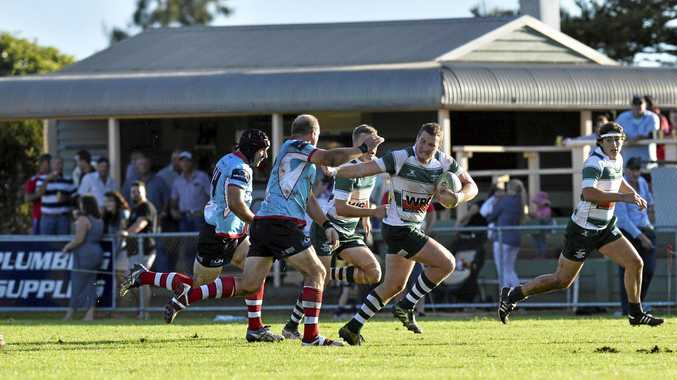 Elias Power on the attack for Condamine against Toowoomba Rangers in their round-four Risdon Cup match at Gold Park.