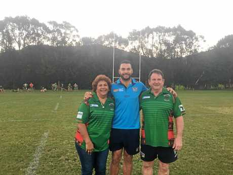 A TITAN RETURNS: Titans captain and Bilambil JRL Life Member Ryan James was back at his old club on Thursday with mum Terry-Lee James and dad Kevin James.