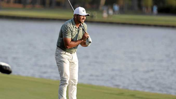 Jason Day watches his ball fly after hitting on the 18th fairway during the first round of the Players Championship in Ponte Vedra Beach, Florida. Picture: Lynne Sladky/AP