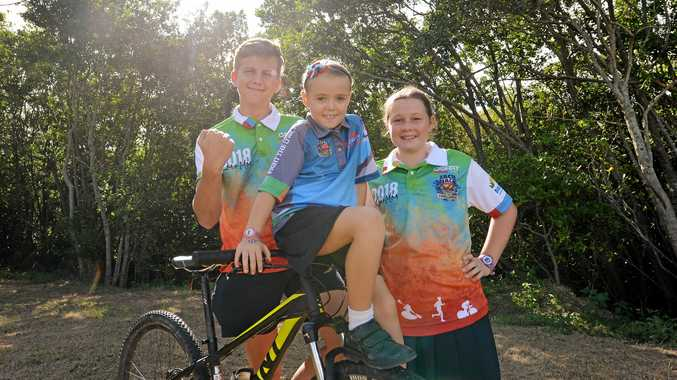 Kiah Dumigan, Jordyn Woodrow and Indee Price gear up for the Zach Mach Mackay Adventure Challenge this weekend.