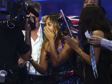 Jessica Mauboy celebrates after making it to the finals in Lisbon, Portugal. Picture: AP Photo/Armando Franca