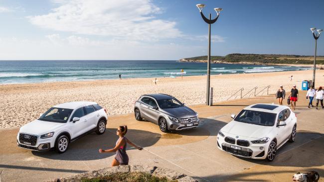 Audi Q2, Mercedes-Benz GLA and BMW X2. Pictures: Thomas Wielecki