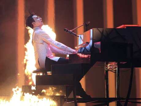 Melovin from Ukraine performs the song Under The Ladder during the second semi-final of the Eurovision Song Contest. Picture: AP Photo/Armando Franca