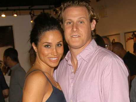 Meghan Markle and first husband Trevor Engelson. Picture: Getty