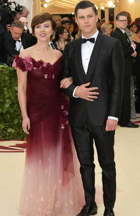 Scarlett Johansson, with Saturday Night Live star boyfriend Colin Jost, wore Marchesa, to the Met Ball this week. Picture: Getty