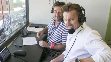 Mick Molloy and Brett Lee in the box for the Ashes Test in Sydney earlier this year. Picture: Dylan Robinson