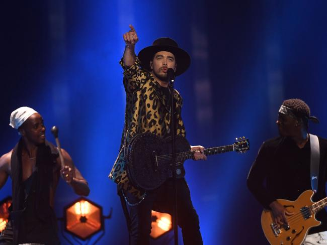 The Netherlands' singer Waylon performs the song Outlaw In 'Em. Picture: AFP/ FRANCISCO LEONG