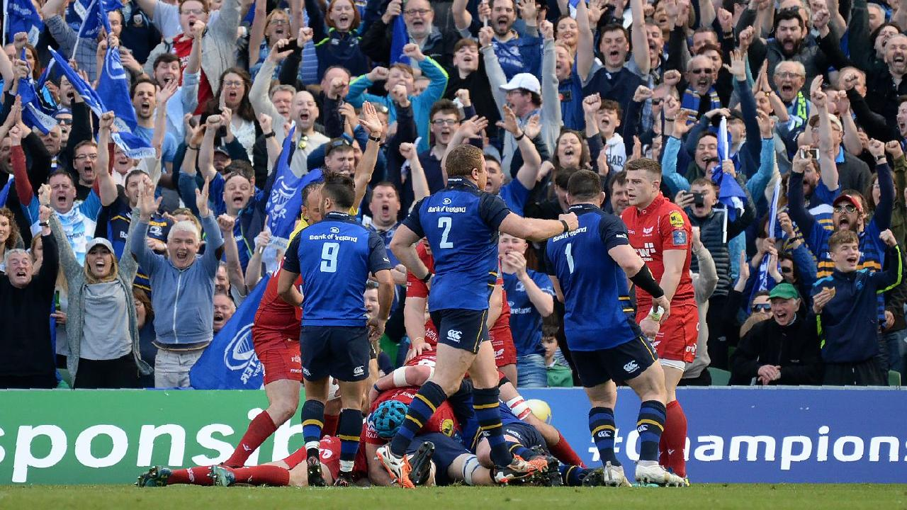 Scott Fardy scores a try in the European Champions Cup semi-final against Scarlet.