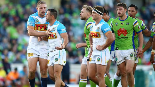 Michael Gordon disputes a refereeing decision during Gold Coast's Round 9 loss to Canberra. Picture: Getty Images