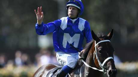 Hugh Bowman with Winx after winning the George Ryder Stakes.