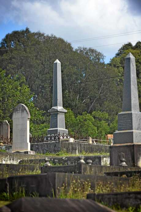 Gympie cemetry glowing tombstone. .