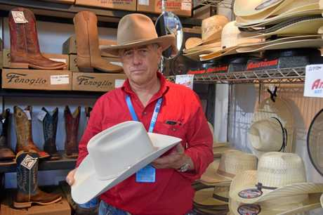 Allan King with an American Hat Company hat at his Beef Australia stall.