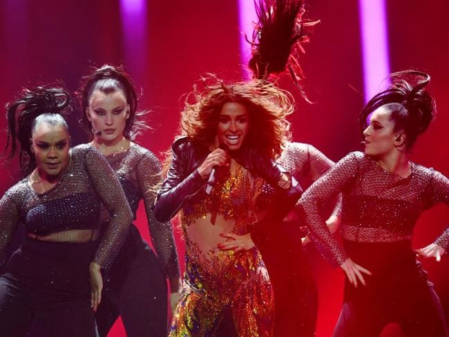 Cyprus' singer Eleni Foureira performs the song Fuego during the first semi-final of the 63rd edition of the Eurovision Song Contest 2018. Picture: AFP